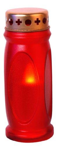 Grablicht LED flackernd Kunststoff rot 14cm mit Lichtsensor inklusive Batterien 66-67