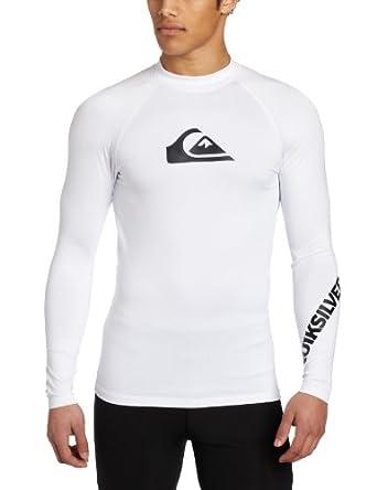 Quiksilver Men's All Time Long Sleeve Rashguard, White, Large