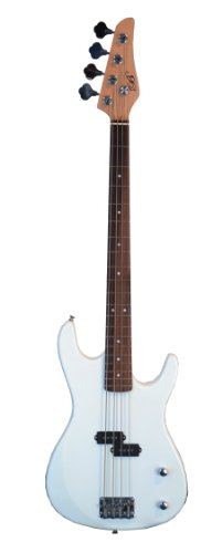WHITE Electric Bass Guitar & DirectlyCheap(TM) Translucent Blue Medium Guitar Pick