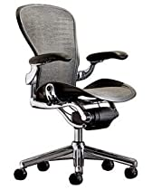 Hot Sale Executive Aeron Chair- Polished Aluminum Frame - Carbon Wave Size B (Medium) by Herman Miller