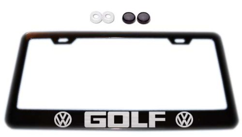 Volkswagen VW Golf w/ logos Black License Plate Frame w/ Screw Covers E2 (Vw License Plate Frame For Women compare prices)