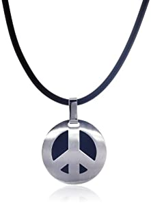 "Men's Stainless Steel ""Peace"" Pendant Necklace , 20"""