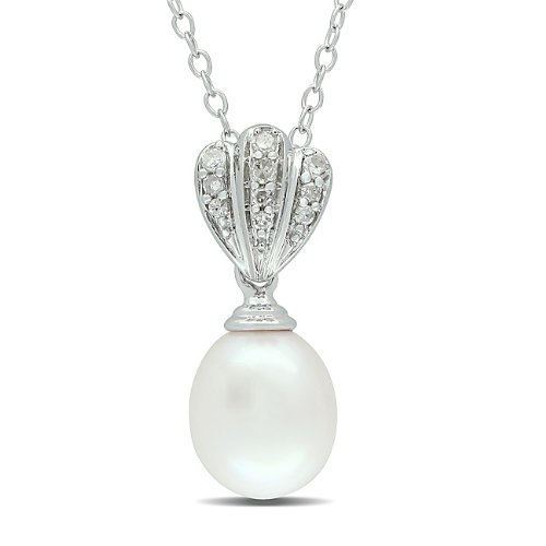 Sterling Silver 0.07 CT TDW Diamond Freshwater White Pearl Fashion Pendant With Chain (G-H, I3)