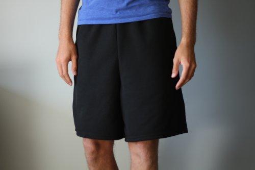 ZipItSportz ZipItSportz Men's Shorts with Zippered Pockets (Black, Large)