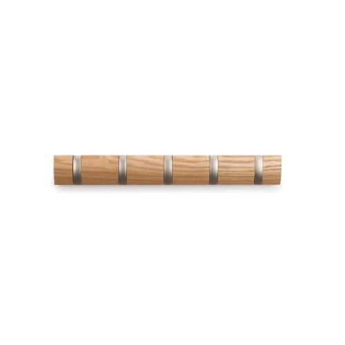 Umbra-318850-390-Flip-Garderobenhakenleiste-mit-5-Haken-Wandhaken-natur