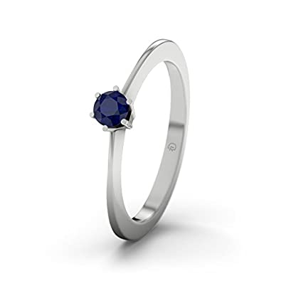 21DIAMONDS Women's Ring Wellington Blue Sapphire Diamond Engagement Ring - Silver Engagement Ring