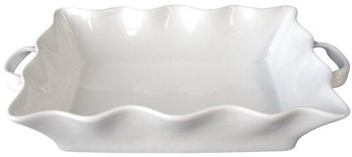 BIA Cordon Bleu Wavy Collection 3-Quart Rectangular Baker with Handles, White