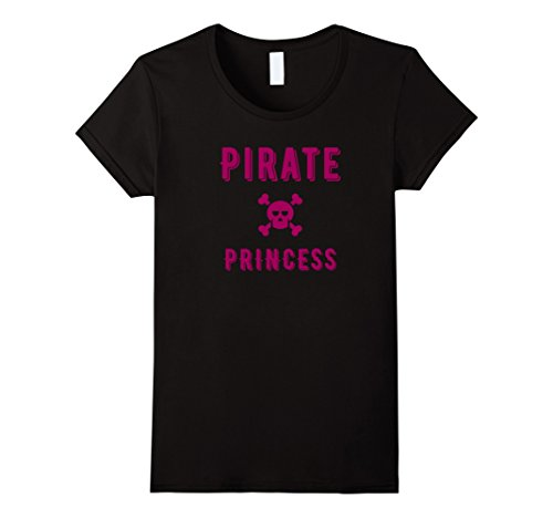 [Women's Pirate Princess Cute Pink Skull Halloween Costume T-Shirt Small Black] (Parrot Costume Female)