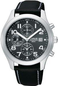 Lorus by Seiko Men's Sports Chronograph 50m Black Leather Strap Watch RF845CX8