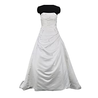 Moonar Chiffon One Shoulder Ball Gown Prom Formal Gown Party Bridesmaid Wedding Dress White LF016 US 8/ UK 12