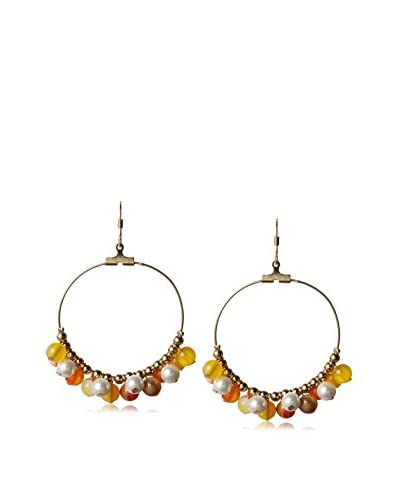 Kenneth Jay Lane Pearl and Natural Beads Fishhook Earring