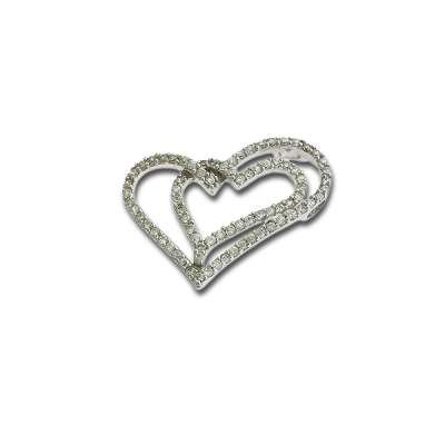 Fashionable Necklace Pendant Jewelry Sterling Silver Plated with Interlocking Charm CZ Open Hearts Design(WoW !With Purchase Over $50 Receive A Marcrame Bracelet Free)