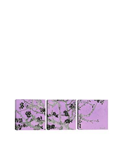 Vincent Van Gogh Almond Blossom (Purple) (Panoramic) 3-Piece Canvas Print
