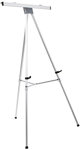 Displays2go Aluminum Easel with Flipchart Holder, 37.5 to 69 Inches  Height-Adjustable Tripod with Telescoping Legs - Silver (EAS3769SLV) (Adjustable Height Chart compare prices)