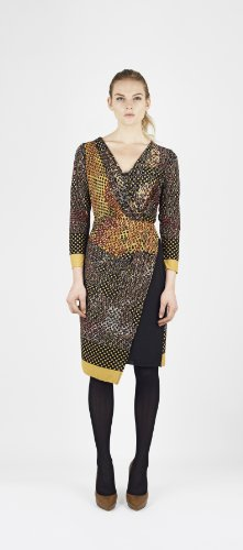 James Lakeland Wrapover Long Sleeve Dress Multi