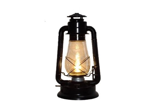 Dietz Blizzard 'Vintage Style' Electric Lantern Table Lamp - Black 2