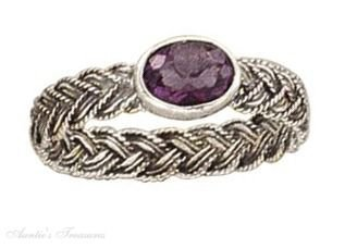 Sterling Silver Woven Band Solitaire Oval Amethyst Ring Size 5