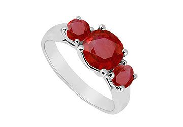 Sterling Silver Ruby Three Stone Ring 1.25 CT TGW MADE IN USA