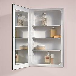 Broan-NuTone 1035P24WH Frameless, flat mirror, steel shelves