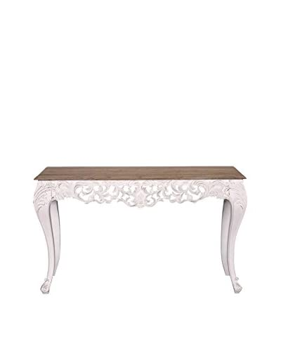 Jeffan Baroque Carving Solid Wood Console Table, Natural