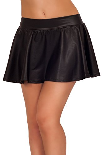 Womens Party Costume Metallic Ruched Flare Pleated Skater Short Cute Mini Skirt