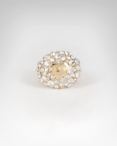 Bebe Round Pave Crystal Heart Ring - WEB EXCLUSIVE Gold onesize