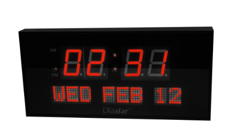 Diastar Big Oversized Digital LED Calendar Clock with Day and Date - Shelf or Wall Mount (16Inch, Red)