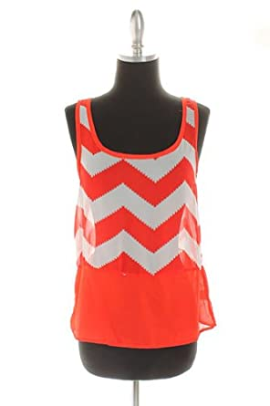 Ladies Red & White Chevron Print Sheer Tank Top (Large, Red)