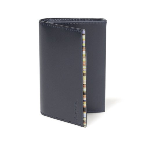(ポールスミス) Paul Smith カードケース メンズ ブランド カラフルステッチ 名刺入れ 革 ブラック [並行輸入品]