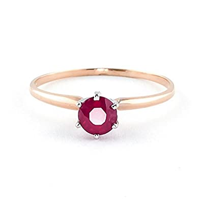 QP Jewellers Natural Ruby Ring in 9ct Rose Gold, 0.65ct Round Cut - 2846R