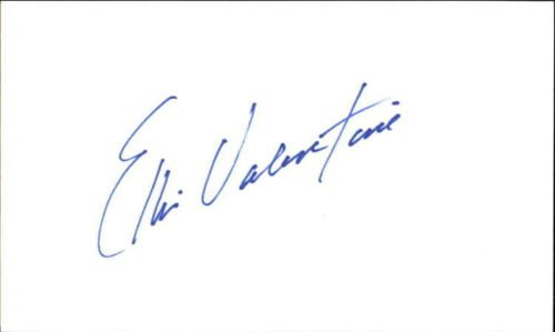 ELLIS VALENTINE BASEBALL SIGNED INDEX CARD 3X5 BLUE FELT TIP ID #25045