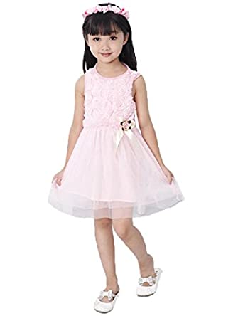 Baby Girls Princess A-line One-pieces Dresses Kids Tulle Flower Dress Vest Skirt