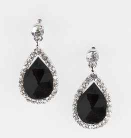 Black Faceted Crystal Bead Earrings - Black & White Jewelry
