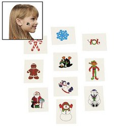 72 CHRISTMAS Glitter Tattoos/SANTA ELF/SNOWMAN/Candy Canes/HOLIDAY PARTY FAVORS/Stocking STUFFERS/6 DOZEN - 1