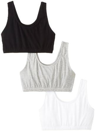 Fruit of the Loom Women's 3 pack Built-Up Sportsbra, Black/White/Heather Grey, Size 34