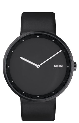 Alessi Unisex AL13003 Out_Time Black Leather  Strap Watch