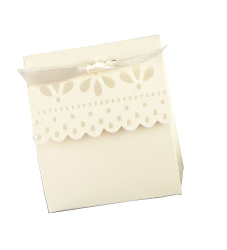 Hortense B. Hewitt Wedding Accessories Favor Boxes, Ivory with Scalloped Edges, 25 Count