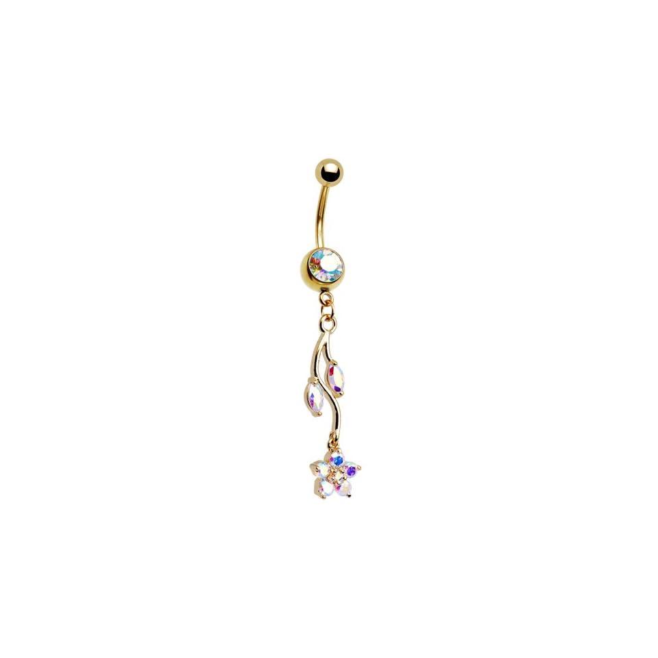 Gold Plated Aurora Gem Ivy Flower Drop Belly Ring