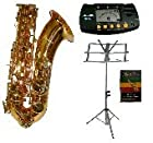 Merano E Flat Gold Alto Saxophone with Case+Mouth Piece+Black Music Stand+Metro Tuner+11 Reeds
