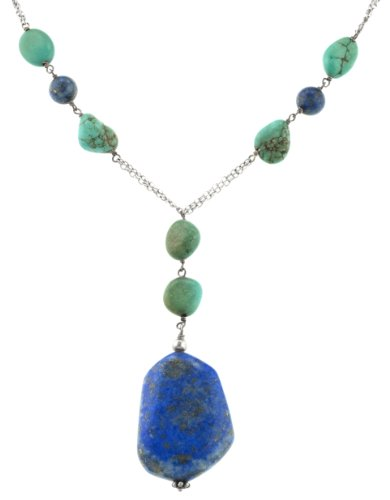 Sterling Silver Lapis and Turquoise Bead Necklace, 17.5