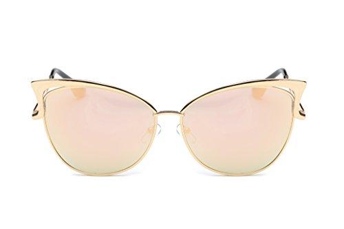 Pession Women's Fashion Flash Mirror Vintage Cat Eye Sunglasses