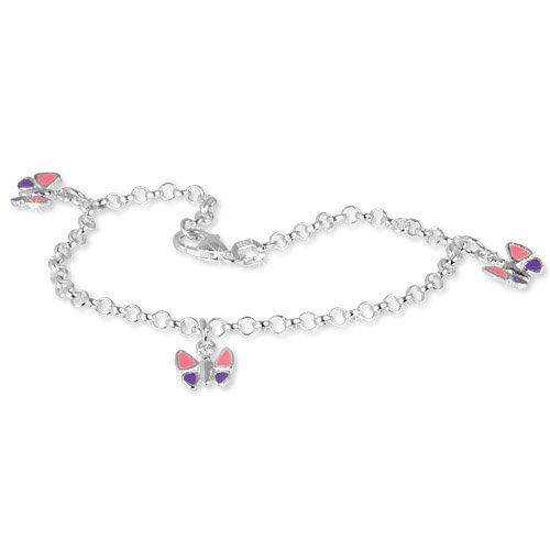 SilberDream kids bracelet butterfly 6.1 inch, 925 Sterling Silver SDA011