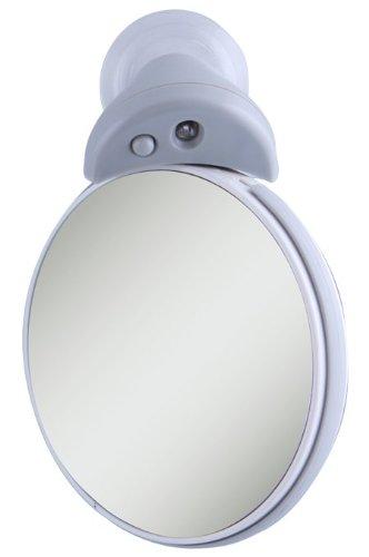 10X/5X Led Lighted Spot Mirror, Gray Finish