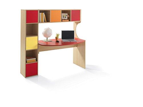 Scrivania attrezzata con libreria per cameretta - cm L156.5 - in vari colori - SX