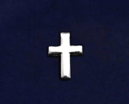 Religious Pin- Small Silver Cross Tac Pin (50 Pins)