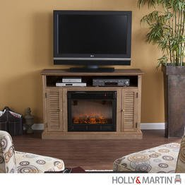 Savannah Weathered Oak Media Electric Fireplace (Oak) (32