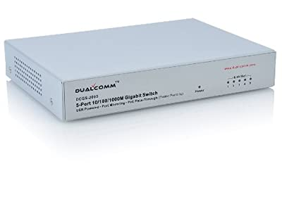 Dualcomm DCGS-2005 5-Port 10/100/1000 Gigabit Ethernet Switch Network TAP (USB Powered, Port Mirroring, PoE Pass-Through)