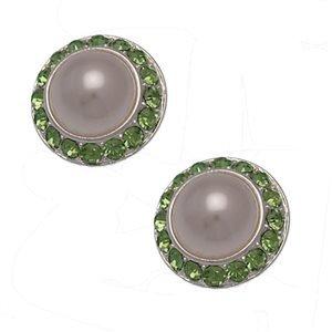 Zara 18mm Silver Green Pearl Clip On Earrings