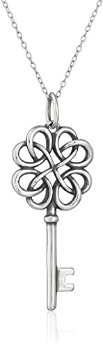 Rhodium Plated Sterling Silver Oxidized Celtic Key Pendant Necklace, 18""
