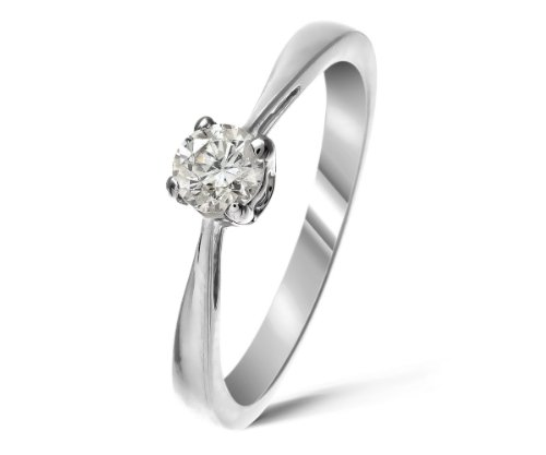 Certified Beautiful 9 ct White Gold Ladies Solitaire Engagement Diamond Ring Brilliant Cut 0.20 Carat DEF-VVS2 Size K 1/2